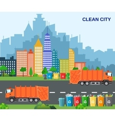 City waste recycling concept with garbage truck vector image