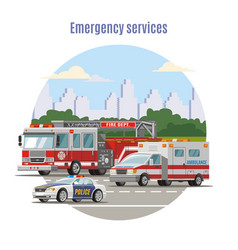 colorful emergency city transport concept vector image vector image