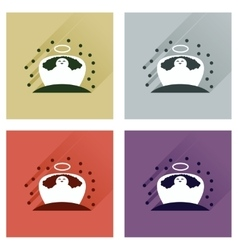 Concept of flat icons with long shadow jesus vector