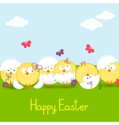 easter chickens against the sky vector image vector image