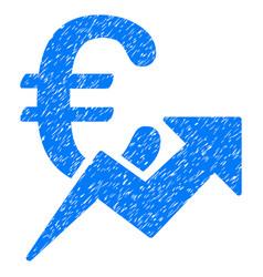 Euro growth grunge icon vector