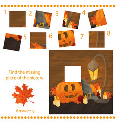 find missing piece - puzzle game with pumpkins vector image vector image