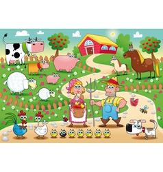 Funny farm family vector
