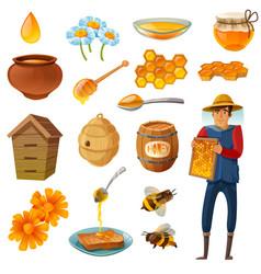 honey cartoon set vector image