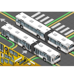 Isometric long bus in rear view vector