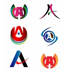 Letter a logo design sample icon set vector