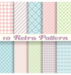 Pastel retro different seamless patterns tiling vector image vector image