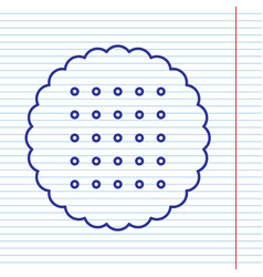 Round biscuit sign navy line icon on vector