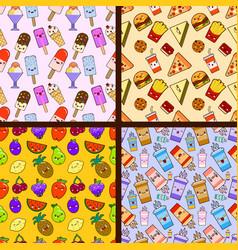 set of food seamless patterns kawaii characters vector image