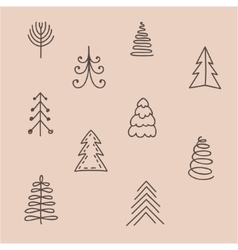 Set of hand drawn abstract Christmas tree vector image