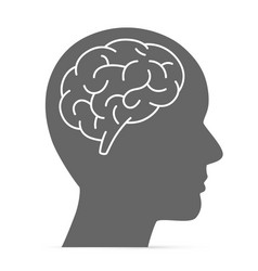 silhouette head with the brain vector image vector image