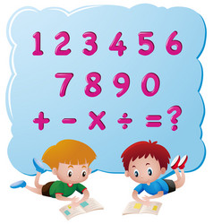 two boys and different numbers vector image