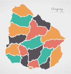 Uruguay map with states and modern round shapes vector