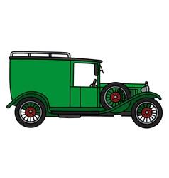 Vintage green van vector image vector image