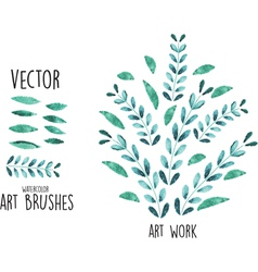 watercolor brushes with leaves elements vector image