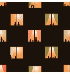 Dark brown night town windows seamless pattern vector