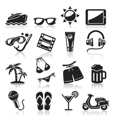 Travel black icons set vector