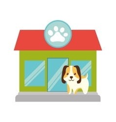 puppy little pet domestic pet shop facade paw vector image