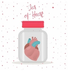 Red heart inside glass jar vector