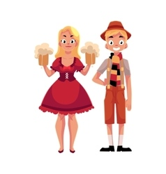 Young man and woman in traditional German vector image