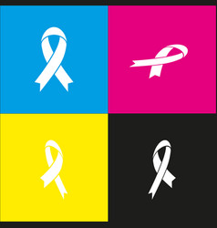 black awareness ribbon sign  white icon vector image