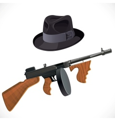 Fedora hat and a Thompson gun for a retro party vector image
