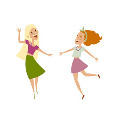 Set of female teenagers funny dances vector