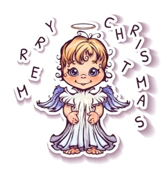 Cute angel with merry christmas text vector