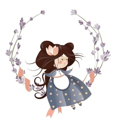Cute girl in flower wreath vector