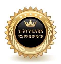 Hundred fifty years experience badge vector