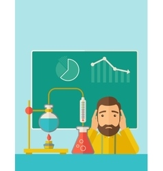 Science teacher in laboratory vector