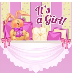 Decor girl room in pink color with soft rabbit vector