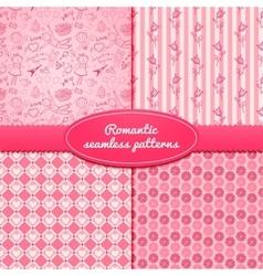 Set romantic seamless pattern vector image