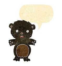 Frightened black bear cartoon with speech bubble vector