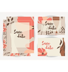 Wedding invitations with floral pattern vector