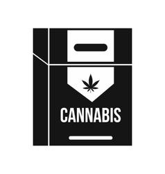 Cannabis cigarette box icon black simple style vector image