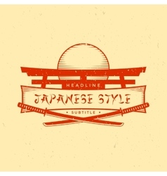 Vintage japan style sign with katanas vector