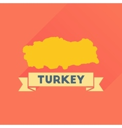 Flat icon with long shadow turkey map vector