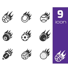 Black fire sport balls icons set vector