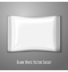 Blank white flat plastic sachet isolated on grey vector