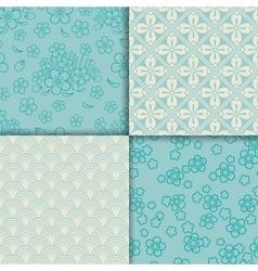 Blue and white sakura pattern set vector image vector image