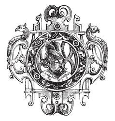 Brooch renaissance style vintage engraving vector