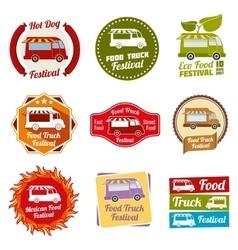 Car street food festival color labels set vector