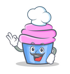 Chef cupcake character cartoon style vector