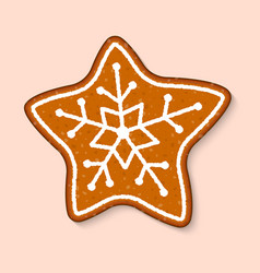 christmas cookie star cake sweet desserts vector image