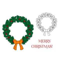 Christmas wreath with holly and berries vector