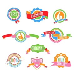 Color badges and ribbons vector image vector image