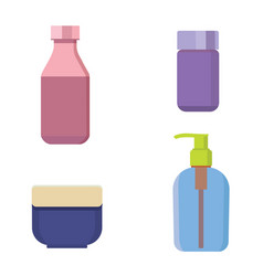 cosmetic bottles color set beauty shampoo vector image