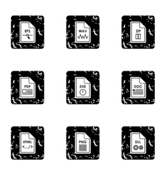 Document types icons set grunge style vector image vector image