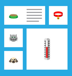 flat icon pets set of kitty kitty collar puppy vector image vector image